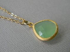 Mint Green Chalcedony Glass Necklace Gold Plated by Greenperidot