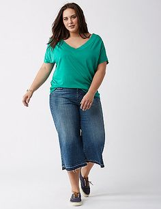 Banded Bottom Double V Tee Lane Bryant, Torrid, Dips, Plus Size, V Neck, Shape, Band, Cotton, Shopping