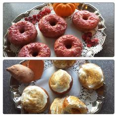 November 22, 2014: Thanksgiving-themed Doughnuts for you today. Cranberry Orange glazed and Sweet Potato Marshmallow. Both nut free and #vegan ! www.veggiegalaxy.com