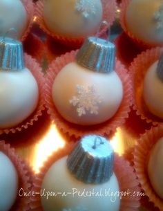 Tiny Ornaments All Edible Peanut Butter Cake Pop Or Truffle Dipped In White Chocolate Topped With A Mini Reeses With Silver Luster Dust  on Cake Central