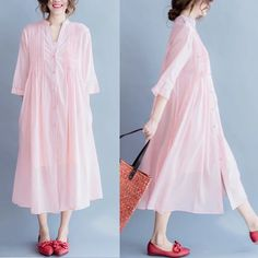 Pink lovely loose long dress