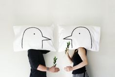 Two Turtle Doves and... His and Hers Love Birds Pillowcase set, gift for couples, gift under 50, Philadelphia by Xenotees, $32.00