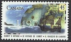 This 45 cent stamp of Canada Scott #1649 (24 Jun 1997) was issued to commemorate the 500th Anniversary of John Cabot's voyage to Canada. Italy issue a joint issue Scott #2162 (24 Jun 1997) with the same design except in Italian and with a value of 1300 Lira.  John Cabot (in English) was the Italian explorer Giovanni Caboto who discovered parts of North America in 1497 under the commission of Henry VII of England. Christopher Columbus never made it to the North American continent.