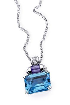 Couleur Baiser pendant, by Mauboussin. White gold, blue topaz, lolite tapper and… Stone Jewelry, Diamond Jewelry, Beaded Jewelry, Boutiques, Baguette, Maxi Collar, Titanic Jewelry, Topas, Emerald Pendant