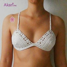 "Bikini top crochet pattern. Boho bikini top with lace flowers at the edges. Crossed straps at the back. ""ADABANA"" bikini top pattern."