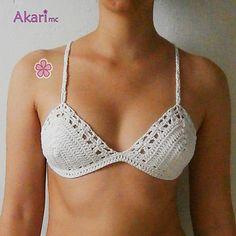 "Bikini top crochet pattern. Boho bikini top with lace flowers at the edges. Crossed straps at the back. ""ADABANA"" bikini top pattern."