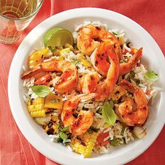 This fresh dinner recipe pulls together in less than 40 minutes. It's sure to be a new family favorite. Recipe: Grilled Lime Shrimp and Vegetable Rice Leftover Dinner Recipe: Lime Shrimp Rolls Shrimp Recipes, Rice Recipes, Healthy Recipes, Dinner Recipes, Pasta Recipes, Shrimp And Vegetables, Grilled Vegetables, Vegetable Rice Recipe, Asian