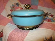 Rare Pyrex Covered Dish Metal Carrier Turquoise Gold Trim 3 Piece Set Divided