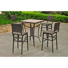 @Overstock.com - Barcelona 32-inch Square Bar Height Bistro Group Table with 4 Chairs - Create a stylish and comfortable space on your patio with this bar height table and chairs. The set comes in four natural colors that complement an outdoor space, and it's weather- and UV-resistant, so you don't have to worry about leaving it outside.   http://www.overstock.com/Home-Garden/Barcelona-32-inch-Square-Bar-Height-Bistro-Group-Table-with-4-Chairs/7324462/product.html?CID=214117 $759.99