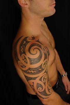 """uncondensed"" Maori Shoulder Tattoo on David by Shane Gallagher Coley, currently working @ Chapel Tattoo, Melbourne, Australia Koru Tattoo, Maori Tattoo Frau, Ta Moko Tattoo, Maori Tattoos, Tribal Tattoos For Men, Maori Tattoo Designs, Marquesan Tattoos, Tattoo On, Trendy Tattoos"