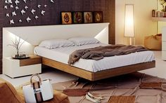 White lacquer on real walnut wood bed frame with lighted headboard. Made in Spain: the stylish collection that combines beauty with functionality. Simple shapes and elegant lines provide cutting-edge design, adding great appeal matching headboard with sides, fronts and optional nightstands. The coll...