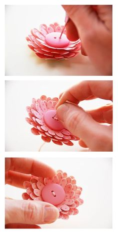 Tuesday Tutorial: Flowers awesome tutorial for creating paper flowers - love the sewing step involved. I need to add needle and thread to my scrapbook kit. Handmade Flowers, Diy Flowers, Fabric Flowers, Paper Flowers, Button Flowers, Flower Diy, Origami, Arts And Crafts, Diy Crafts