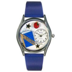 Whimsical Womens History Teacher Royal Blue Leather Watch