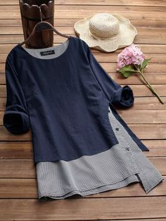 Women Stripe Patchwork Asymmetrical Long Sleeve Casual T-shirts Tops – lalasgalGracila Stripe Patchwork Asymmetrical Long Sleeve Casual T-shirts look chipper and natural. NewChic has a lot of women T-shirts online for your choice, believe you will Plus Size T Shirts, Plus Size Blouses, Flip Flop Shoes, Flip Flops, T Shirts For Women, Clothes For Women, Casual T Shirts, Long Shirts, Refashion