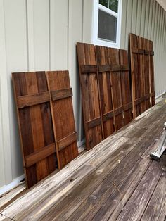 This excellent hurricane shutters is the most inspirational and exceptional idea. Wooden Shutters Exterior, Cedar Shutters, Rustic Shutters, Blue Shutters, Cedar Siding, Wood Shutters, Window Shutters, Repurposed Shutters, Window Frames