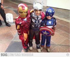 BABY AVENGERS @Danielle Lampert Lampert D'Auria =iron man me = captain america