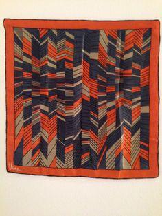 Vintage Square Rust Color Silk Scarf  Vera 1970's by NoTheme, $15.00