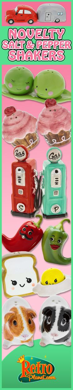 Fun novelty shakers for your table, curio cabinet and gift-giving.