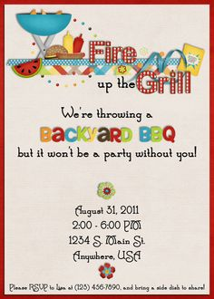 Bbq Invitations Backyard Party Invitations Picnic Birthday
