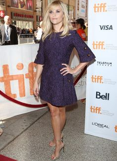 Reese Witherspoon in Purple Dolce & Gabbana Dress and Saint Laurent Sandals at Toronto International Film Festival - 'The Good Lie' - Premiere