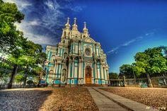 Russia Landmarks   Cathedral (Смольный собор) in Saint Petersburg, Russia ...