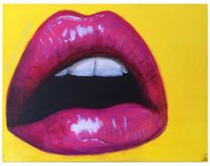 Passion by Nya The Artist (Original Lip Painting, Pop Art, Contemporary, Pink and Yellow, Free Shipping, Custom options)