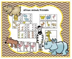 African Animals Printable from Preschool Printables on TeachersNotebook.com -  (21 pages)  - This colored set is made to go along with the No Prep African Animals Printable