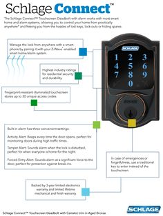 The Schlage Connect™ Touchscreen Deadbolt allows you to control your home from… #CurbAppealContest
