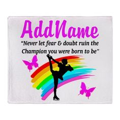 ICE SKATER QUOTE Throw Blanket Keep warm with these pretty Figure Skating fleece blankets that make the perfect gift for Birthdays, Holidays or any occasion.  http://www.cafepress.com/sportsstar/10189550 #Figureskater #IceQueen #Iceskate #Skatinggifts #Iloveskating #Borntoskate #Figureskatinggifts #PersonalizedSkater #Skaterblanket