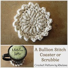 A Bullion Stitch Coaster ~ FREE Crochet Pattern by CrochetN'Crafts