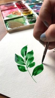 I love warming up by painting gorgeous watercolor leaves 🌿 Learn some basic leaf techniques in my new loose florals class! It's chock-full of step-by-step tutorials to paint a loose floral wreath 😍 - Loose watercolor leaves Watercolor Painting Techniques, Watercolour Tutorials, Painting & Drawing, Drawing Eyes, Basic Painting, Painting Snow, Plant Painting, Painting Videos, Watercolor Leaves