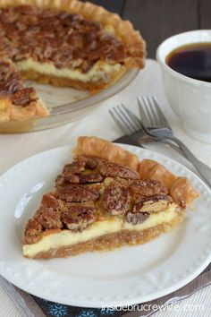 Cheesecake layered with a pecan pie for a fun and delicious pie that everyone will rave about!