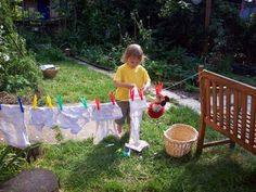 Time to wash the dolls clothes outside!