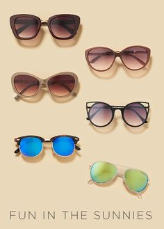 We're big fans of changing up sunglasses as you would any other accessory, like jewelry or handbags. Whether it's a flirty cat-eye or chic aviator, let your eyewear complement your look. Have fun in the sunnies at Kohl's.