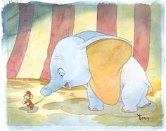 """A Friend To A Fellow"" by Toby Bluth - Original Watercolor on Paper, 11.5 x 14.5.  #Disney #Dumbo #DisneyFineArt #TobyBluth"