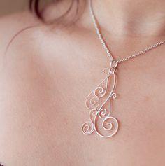 Swirly Silver Filigree Pendant by MirielDesign