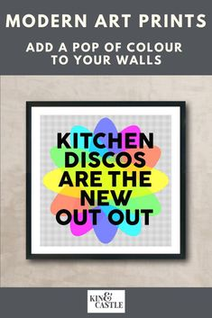 This modern kitchen art print will add pops of contemporary colour to your kitchen home decor. This kitchen disco art print makes a great birthday gift, new parents gift and Christmas gift in lockdown. It's the perfect staying in quote! Bring your kitchen decor to life with this colourful wall art print. Hallway Wall Decor, Wall Art Decor, Kitchen Wall Art, Kitchen Decor, Contemporary Art Prints, Colorful Wall Art, Wall Art Designs, Wall Art Prints, Parents