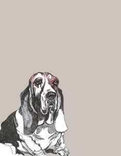 Basset Hound Print - Dog Art on Etsy, $20.00