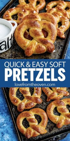 This quick and easy soft pretzel recipe is perfect when … Easy Homemade Pretzels. This quick and easy soft pretzel recipe is perfect when you are craving buttery, salty soft pretzels. Baking Recipes, Snack Recipes, Snacks, Recipes Dinner, Meat Recipes, Dinner Ideas, Recipies, Homemade Soft Pretzels, Easy Homemade Bread