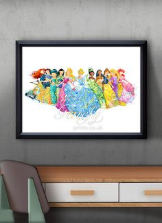 Disney Princess Aquarell Poster Print Aquarell von GenefyPrints