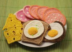 Please note! THIS IS NOT A FINISHED PRODUCT. PDF PATTERN ONLY. This pattern is available in ENGLISH and RUSSIAN language. This pattern is written in American Crochet Terms. Set of Crochet and Knitting Patterns BREAKFAST, Crochet Play Food Patterns Set. Make your own play food - BREAKFAST (FRIED EGG, BOILED SAUSAGE, BREAD, SWISS CHEESE). This will be the best toy for your children or a wonderful gift to your friends. Crochet toys can also be used as a kitchen decor. Make really good stuff…