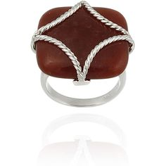 Glitzy Rocks Sterling Silver Square Red Jade Braided Design Ring