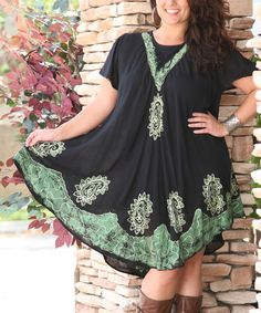 This Black & Green Lace-Up Embroidered Swing Dress - Plus by Ananda's Collection is perfect! #zulilyfinds