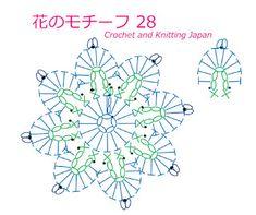 かぎ編み Crochet Japan : 花のモチーフ 28【かぎ針編み】編み図・字幕解説 Crochet Flower Motif. / Crochet and Knitting Japan