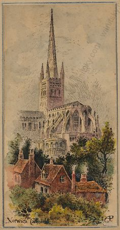 "Arthur Charles Payne (English artist) ""Norwich Cathedral"", Watercolor, Late 19 C  Sta..."