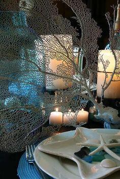 Romantica tavola in stile marine - Idee carine per apparecchiare la tavola in stile marina con gusto.