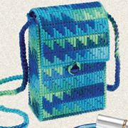 Darice Projects - Plastic Canvas and Yarn Pocket Bag. Download instructions at www.darice.com #DIY #crafts #yarn