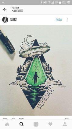 """""""Homesick at Spacecamp""""? Alien Drawings, Space Drawings, Cool Drawings, Pencil Drawings, Tattoo Sketches, Tattoo Drawings, Art Sketches, Tattoo Ink, Feather Wall Art"""