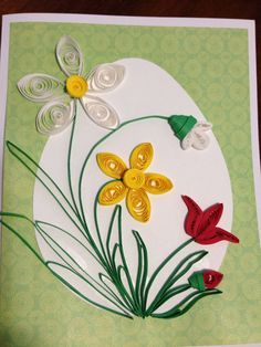This cards are made by quilling. It is thin strips of paper that are rolled, shaped and glued to make beautiful designs ! B...