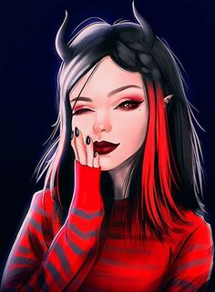 Art > Dark Theme > Demon Girl > black and red Girl Face Drawing, Girl Drawing Sketches, Anime Girl Drawings, Cute Girl Drawing, Cartoon Kunst, Anime Kunst, Cartoon Art, Easy Cartoon, Cool Anime Girl